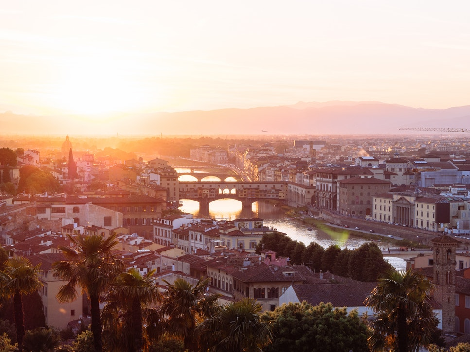 Panoramic view of Florence, Italy at sunset