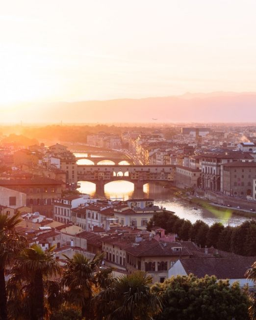 Paint Workshop Panoramic View. Beautiful Sunset in Florence, Italy. Photography credit: Mark Tegethoff
