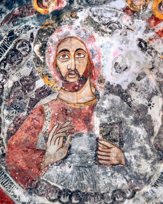 Artistic Fresco Workshop Experience. Italian mosaic religious art in white, red and grey. Photo cred: Faith Ozdemir