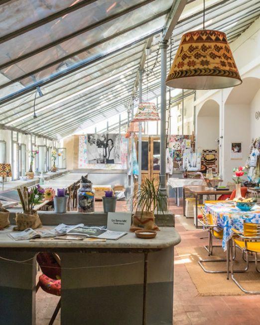 Greenhouse Textile Paint Workshop. Greenhouse painting studio